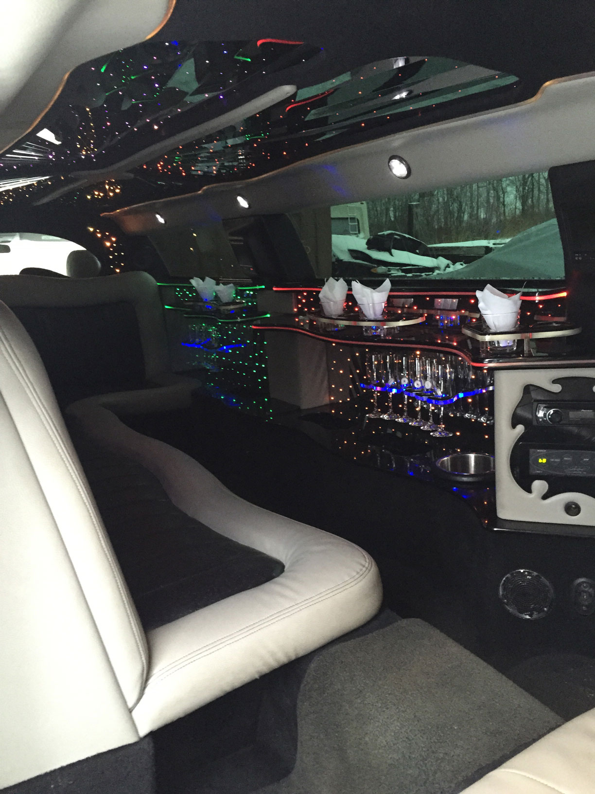 inside white Chrysler 300 Stretch Limousine