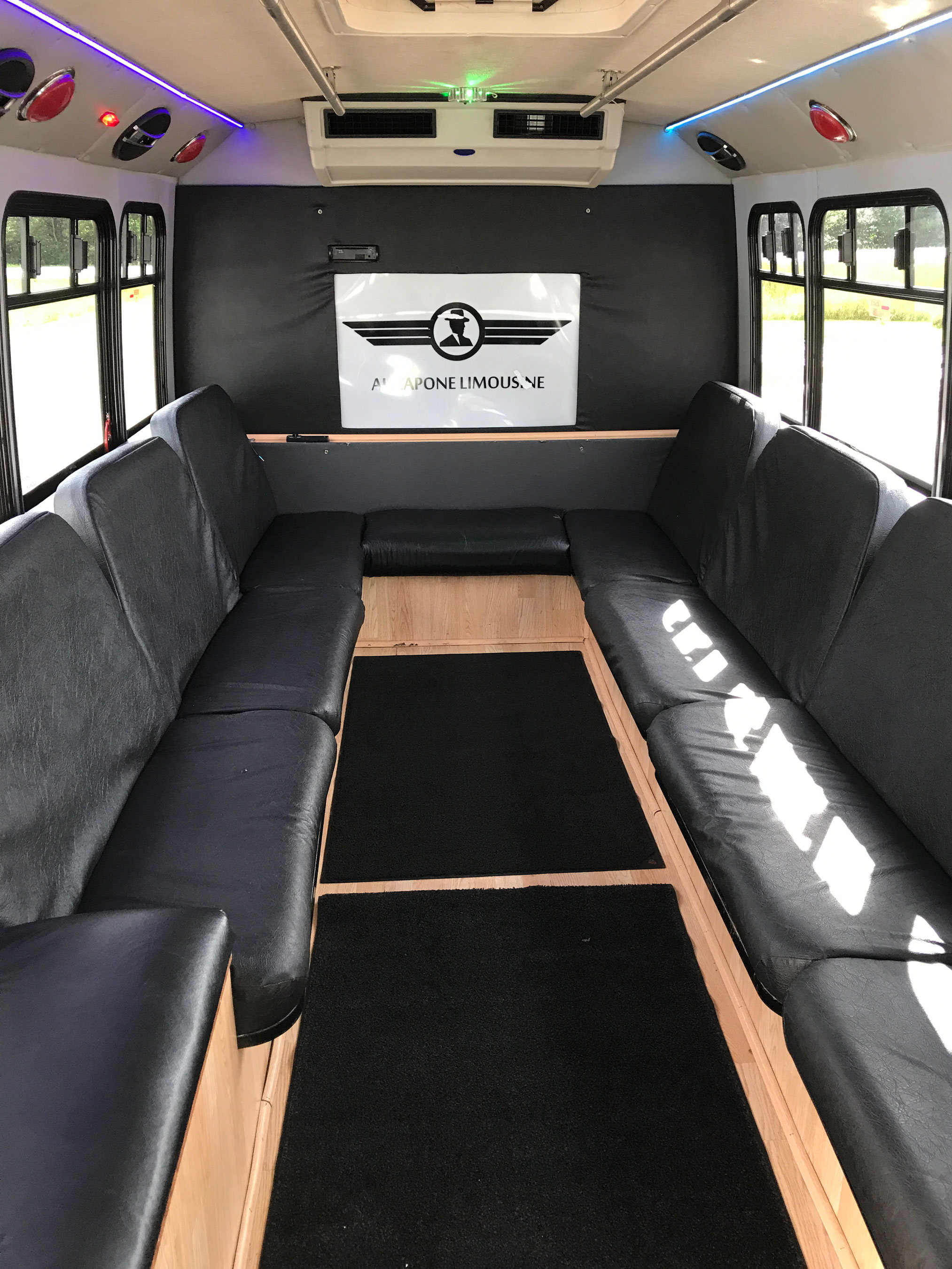 Inside view of large party bus of Al Capone Limousine