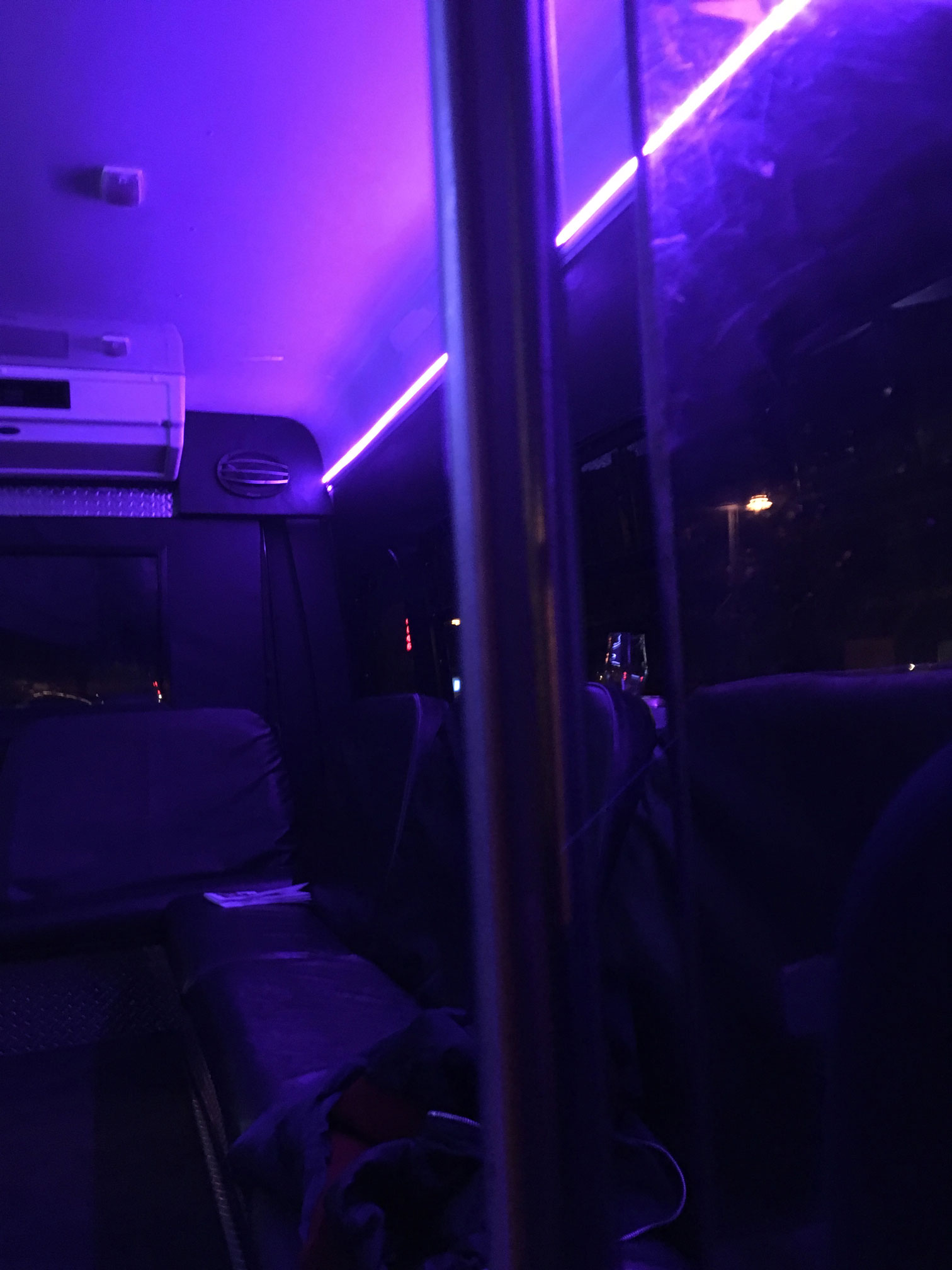 neon lights in Party bus at night